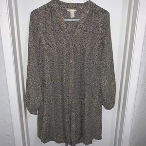 H&M Long Sleeve Button Down Leaf-Patterned Dress